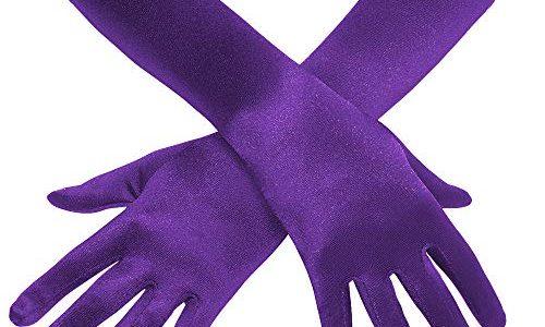 Coucoland Damen Handschuhe Satin Classic Opera Fest Party Audrey Hepburn Handschuhe 1920s Handschuhe Damen Lang Kurz Elastisch Violett/38cm