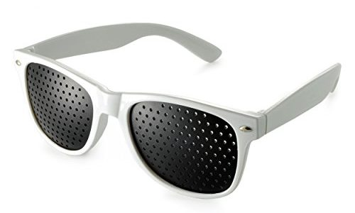 Raster-Brille/Loch-Brille für Augen-Training und Entspannung, Gitter-Brille mit faltbaren Bügeln, Form B, Farbe: weiß