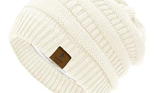 Durio Mütze Damen Winter Strickmütze Grobstrick Warme Beanie mit Innenfutter Elfenbein