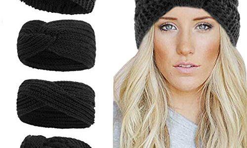 KQueenStar Damen Gestrickt Stirnband -1/2/3/4 Stück Elastische Häkelarbeit Headwrap Design Stirnbänder Winter Kopfband Haarband Crochet Headwrap Ohr Wärmer, Schwarz E, Einheitsgröße