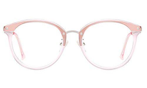 SOJOS Round Brille mit Blaulichtfilter ohne Sehstärke Anti-Blaulicht Gläser Brille SJ9001 Ashley mit Rosa Rahmen/Anti-Blue Light Linse