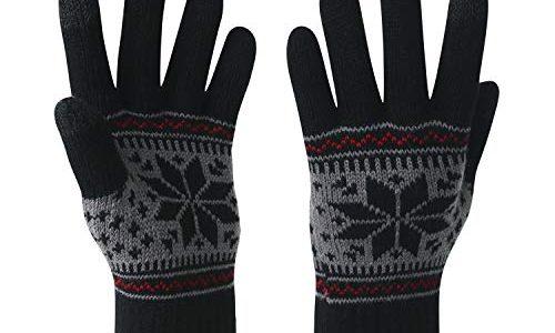 VENI MASEE Winter Touchscreen Handschuhe Schnee Blume Druck halten warm für Frauen und Männer Damen Schneeschwarz