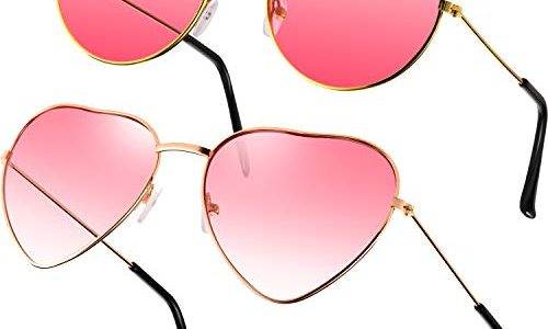 2 Paare Rosa Hippie Sonnenbrillen Retro Hippie Stil Sonnenbrillen Hippie Kostüm Sonnenbrillen Herren Damen Brillen Rund und Herz Form