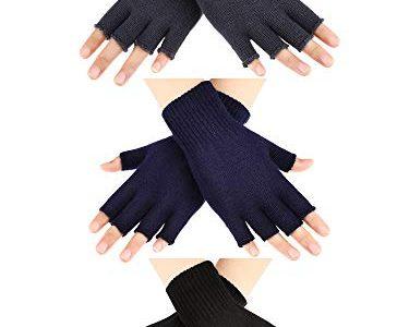 SATINIOR 3 Paar Halb Fingerhandschuhe Winter Fingerlose Handschuhe Strickhandschuhe für Männer Frauen Farbe Set 1