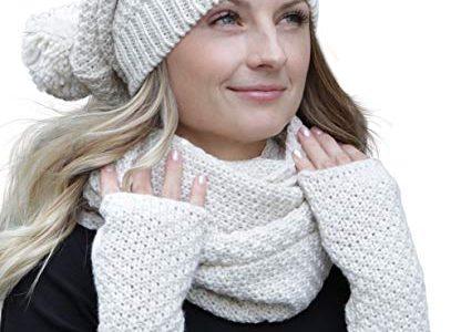 Hilltop Winter Kombi Set aus Winter Schal, passender Strickmütze/Beanie und wahlweise Handschuhe oder Handwärmer, 3-tlg, versch. Farben, Winterset Farbe/Zusammensetzung:Creme mit Handwärmern