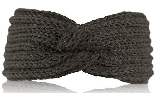 fashionchimp ® Uni-Stirnband für Damen, Winter Strick-Stirnband mit Knoten-Muster Schwarz