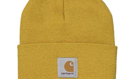 Carhartt WIP Acrylic Watch Hat Unisex Winter Mütze mit 7kmh Aufkleber Gelb 10202