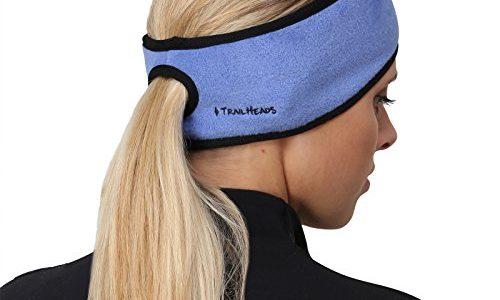 TrailHeads Pferdeschwanz-Stirnband für Damen | Ohrenwärmer aus Vlies | Stirnband für Winterläufe – blau/schwarz